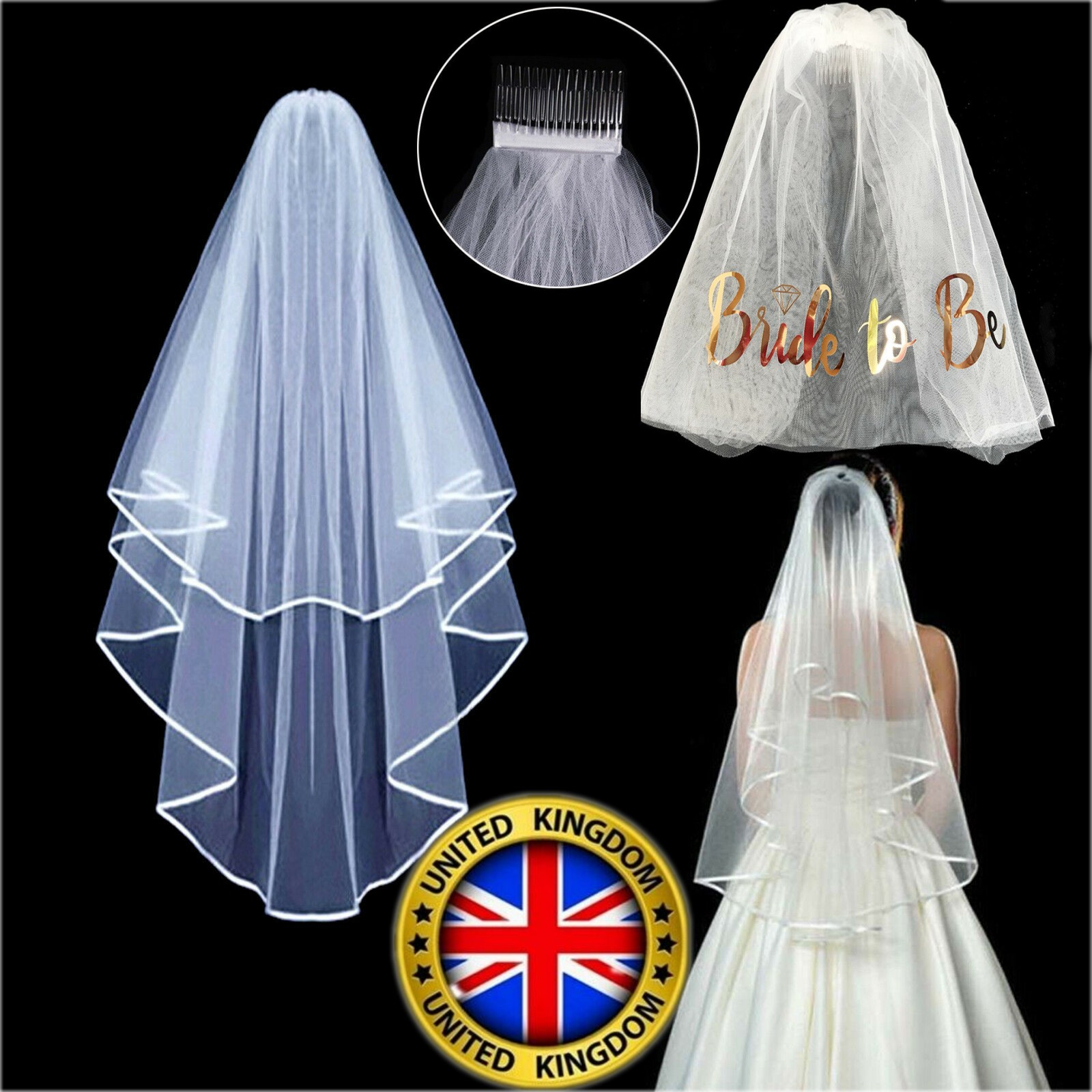UK Veil Comb White With Gold Bride to Be Hen Night Wedding Party Accessories Net