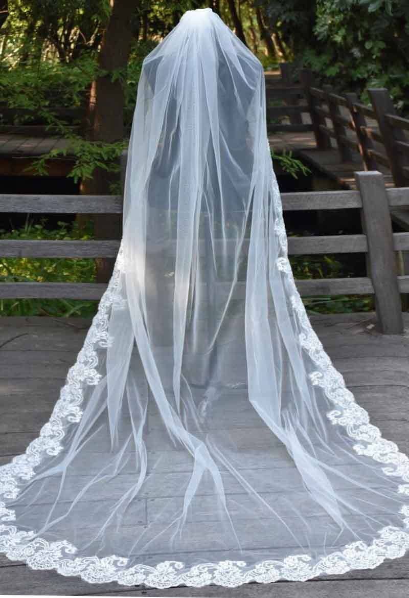86 Inch Long Cathedral Wedding Veils Lace Edge Appliques Bridal Veil ...