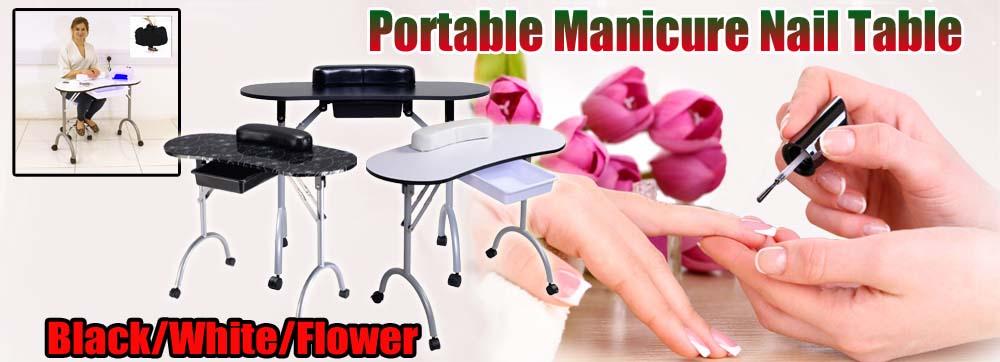 Black portable foldable manicure nail art salon table bar for Mobile nail technician table