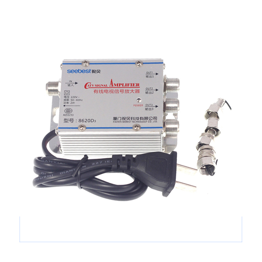 Splitter 20db signal amplifier hdtv 1 in 3 out catv new for Amplificateur tv interieur