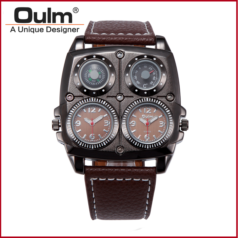 oulm men dual time military army compass thermometer sport quartz oulm men dual time military army compass thermometer sport quartz wrist watch