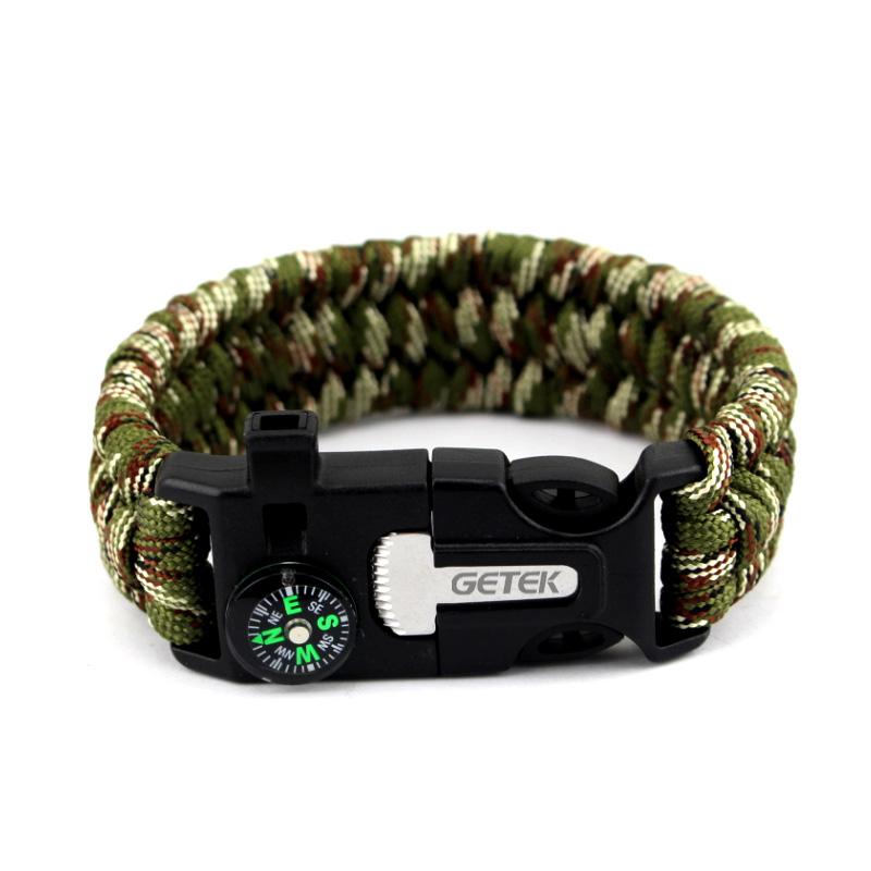 Flint Fire Starter Necklace: Survival Paracord Bracelet Compass Flint Fire Starter