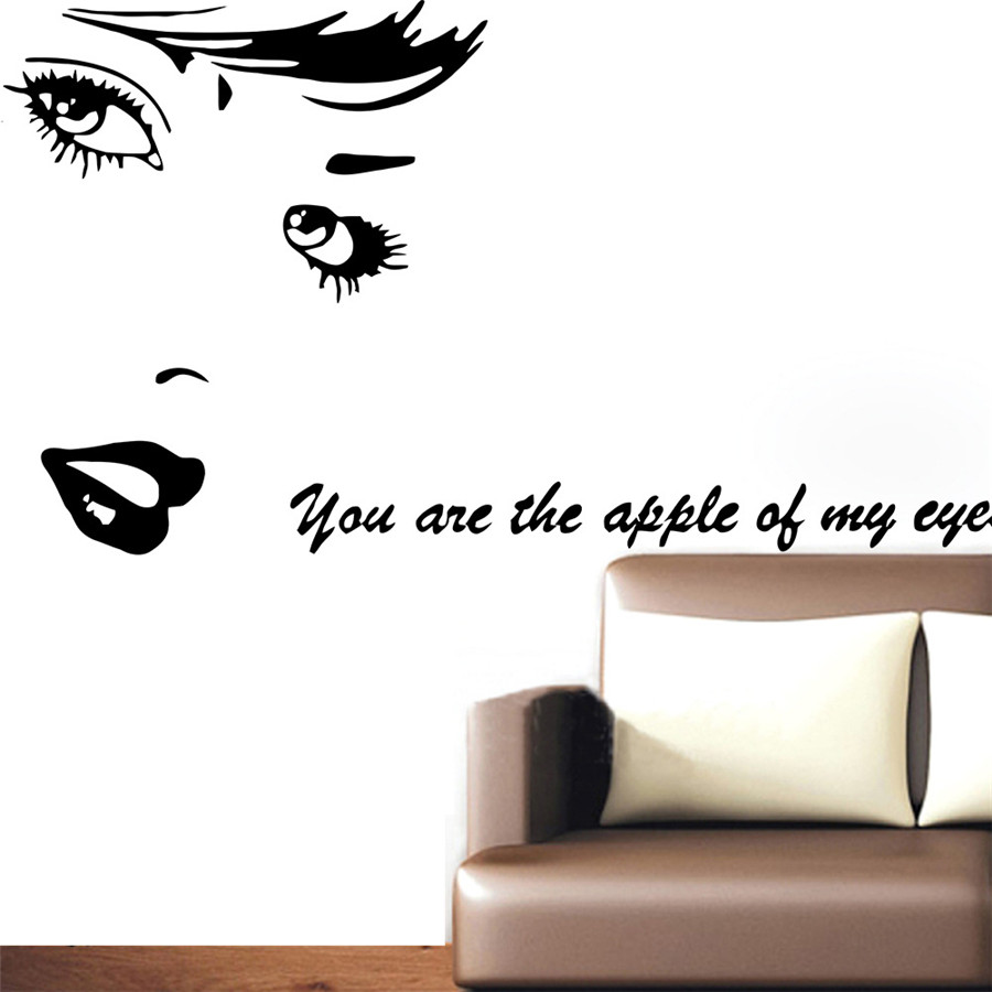 Wall decal vinyl sticker beauty salon girl face eyes lips cosmetic materialnontoxic pvc which is removable without residue remaining on the surface non toxic environmental protection waterproof amipublicfo Choice Image