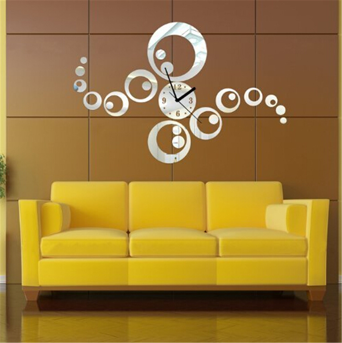 3D Mirror Surface DIY Large Home Office Room Wall Clock Sticker Art ...