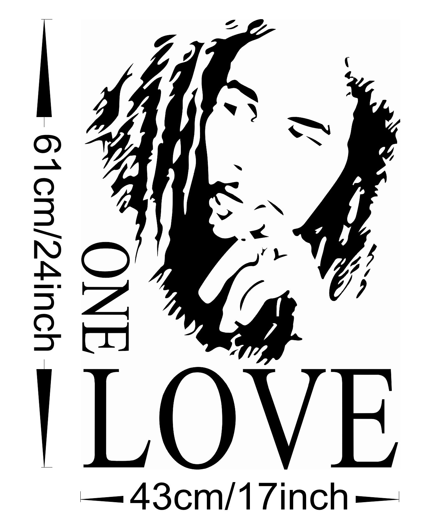 BOB MARLEY One Love Mural Decal Room Wall Sticker Vinyl Art Decor ...