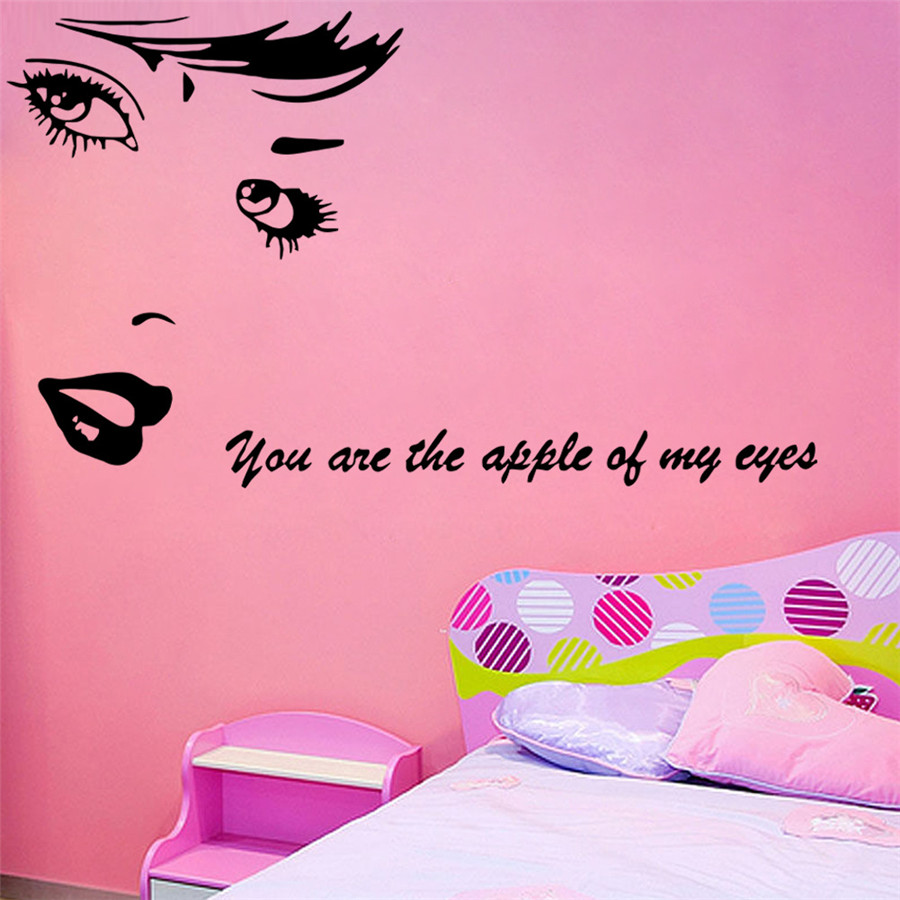 Wall Decal Vinyl Sticker Beauty Salon Girl Face Eyes Lips Cosmetic