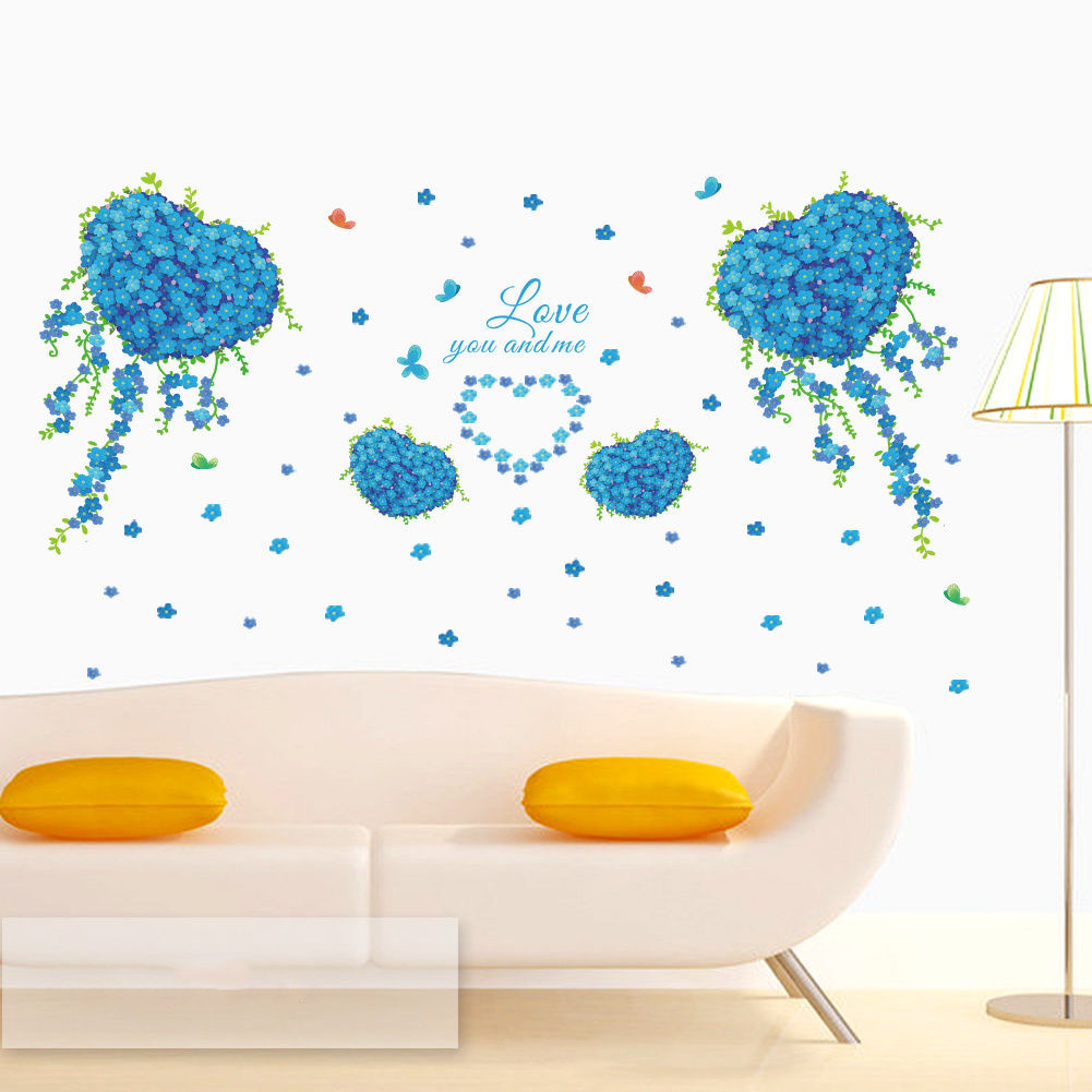 Blue wall decals butterfly heart clover love something romantic romantic love something blue wall decals butterfly heart clover stickers art amipublicfo Image collections