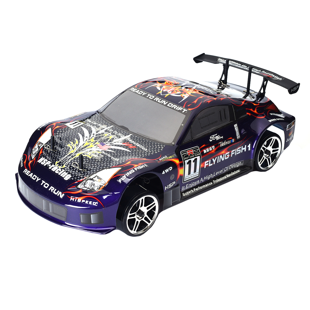 rc drift car hsp 94123 4wd 1 10 electric flying fish drifting on road high speed ebay. Black Bedroom Furniture Sets. Home Design Ideas