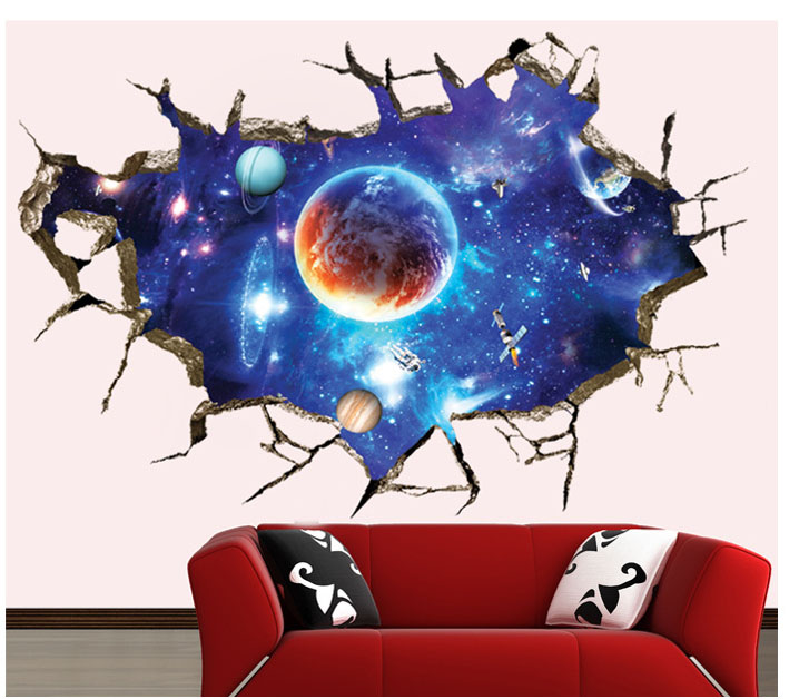 3d galaxy wall sticker outer space planet removable wall for Outer space vinyl wall decals