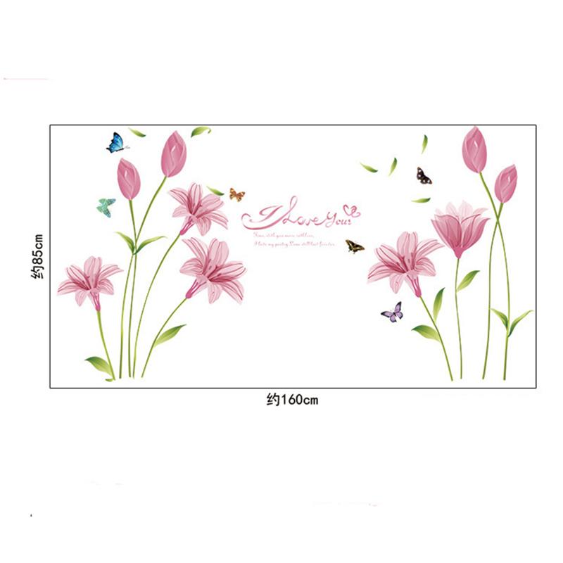 pink love lily flower butterfly wall sticker decal sticker