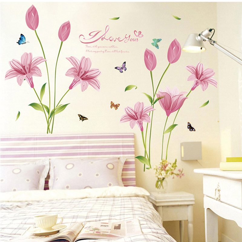 Pink Love Lily Flower Butterfly Wall Sticker Decal Sticker Wall Art Home  Decor Part 64
