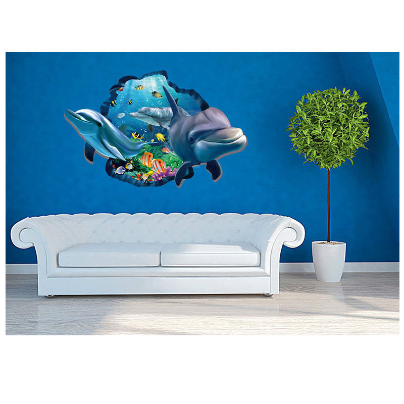 3d ocean dolphin removable decal wall sticker art mural for Dolphin wall mural