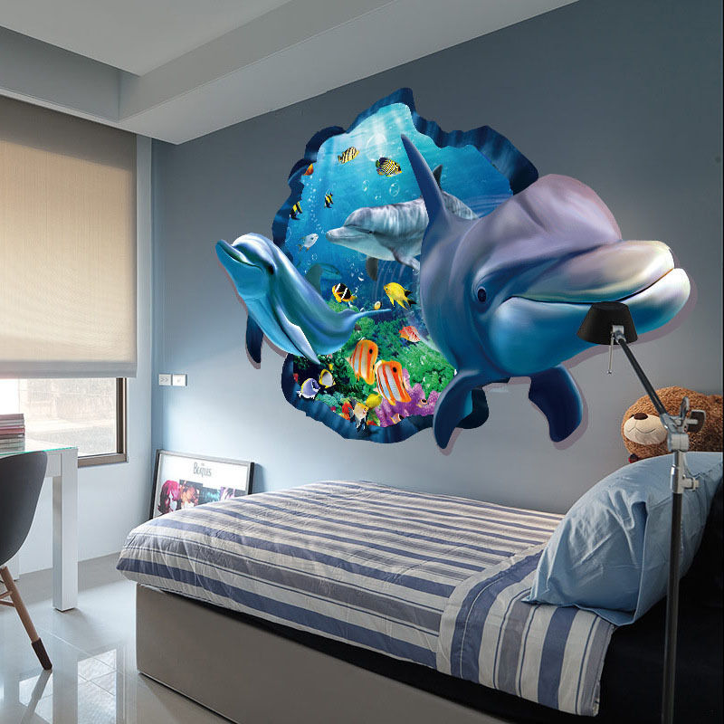 3d ocean dolphin removable decal wall sticker art mural - 3d vinyl wandtattoo ...