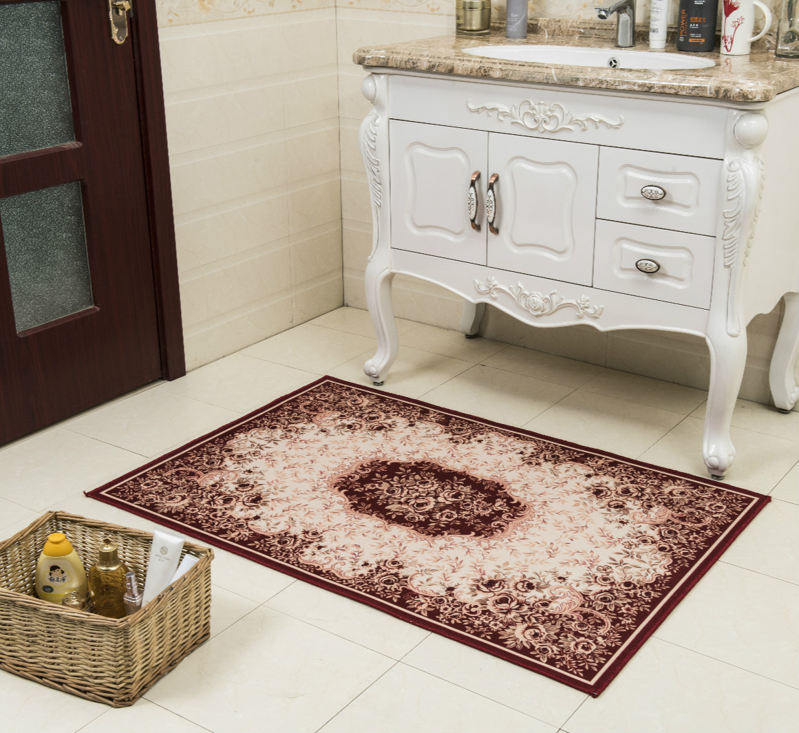 New Carpet Retro European Style Floral Bath Home Soft Area