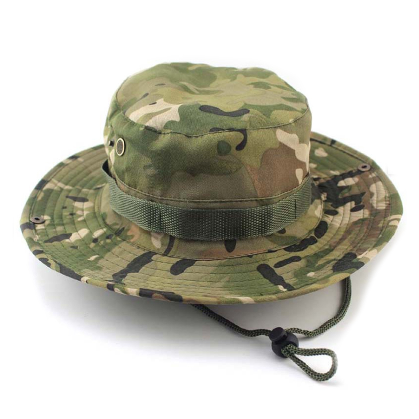 Bucket hat boonie unisex camo cap wide brim military for Camo fishing hat