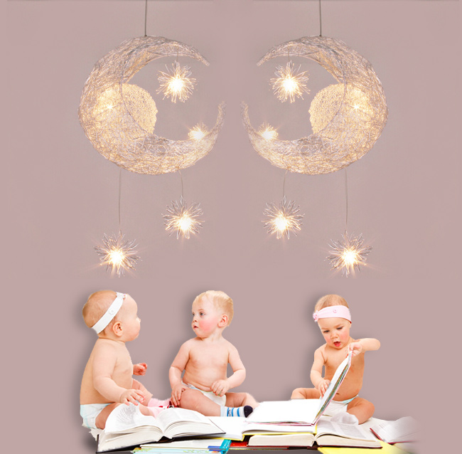 Modern Moon Star Kids S Bedroom Led Pendant Lamp Chandelier Ceiling Light Ebay