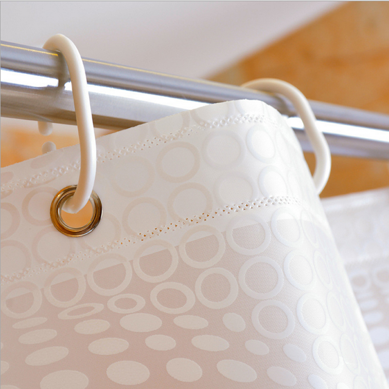 Home Bath Decor Shower Curtain Waterproof Wide Extra Long Standard With Hooks