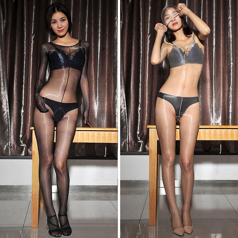 6d58409e7 Unisex See Through Full Body Stockings Ultra Shiny Sheer Catsuit ...