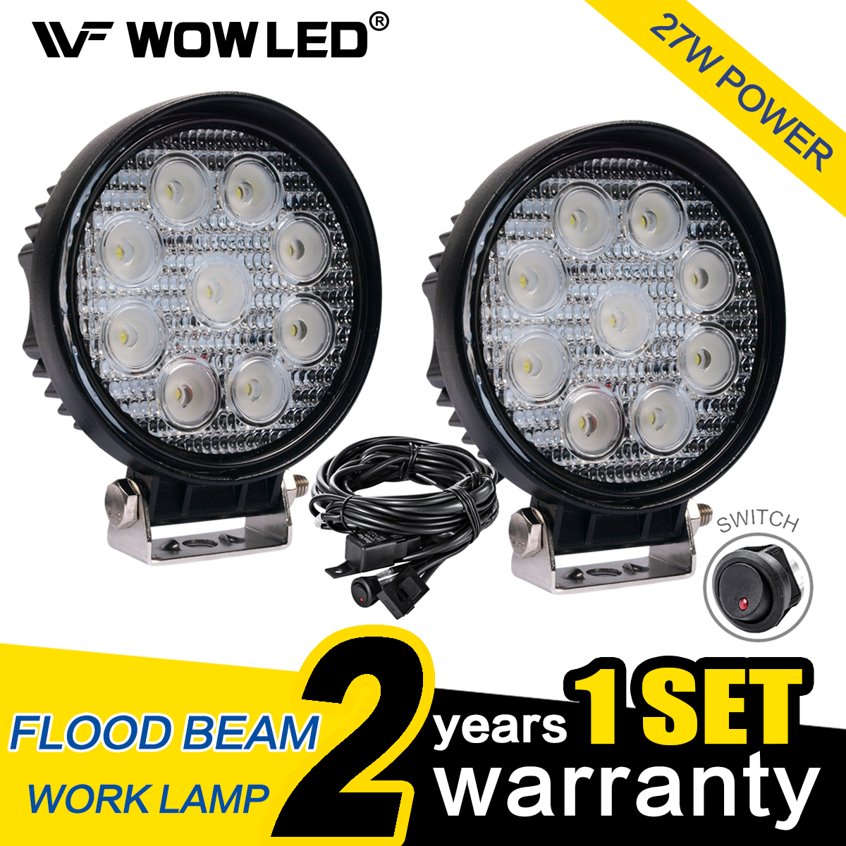 Wow 2 X 27w Round Led Work Light Lamp Offroad Floodlight Truck 4x4 Wiring A Atv