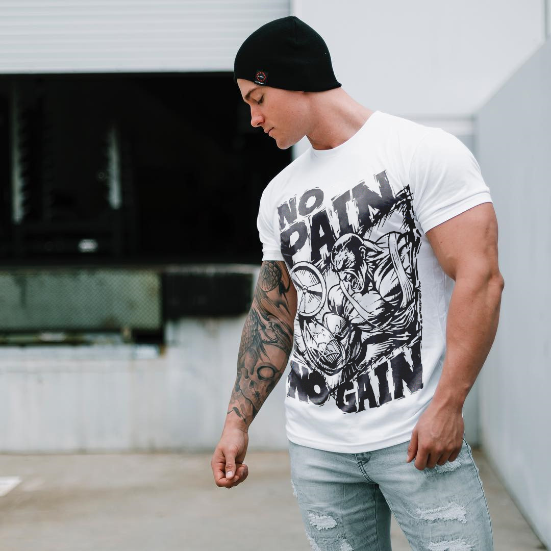 2018 Men Gym No Pain No Gain Bodybuilding Training Fitness Cotton T ... 273db6e22855