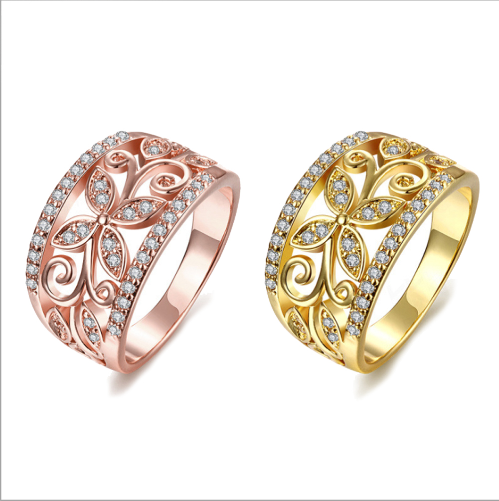 8ccb62e18c Details about 18K Gold Filled Ring Finger Band Wedding Rings CZ Zircon Women  Gemstone