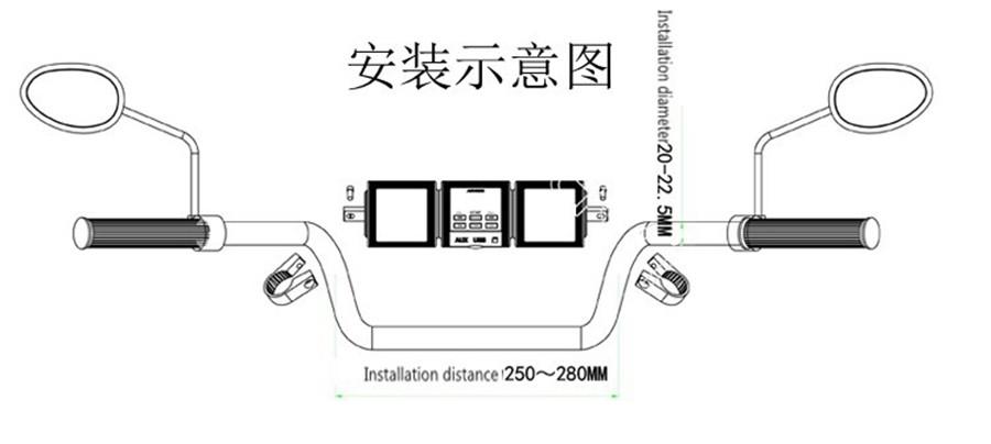 motorcycle handlebar mount bluetooth audio amplifier