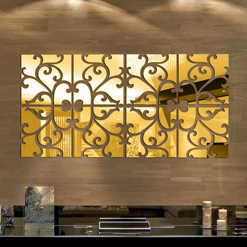 32pcs 3D Acrylic Modern Mirror Decal Art Mural Wall Sticker Home ...