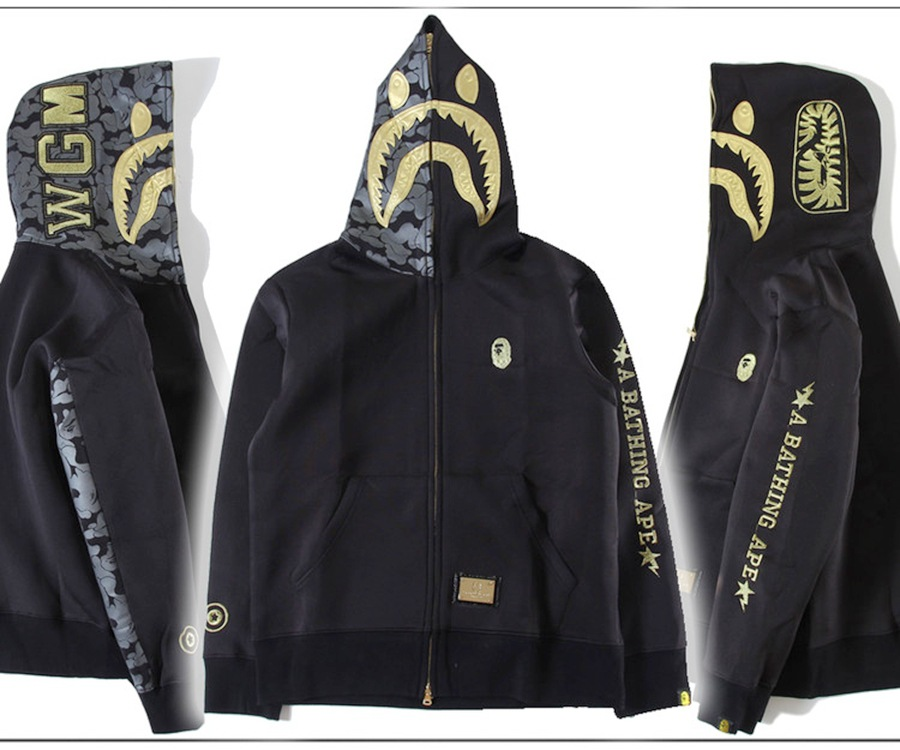 A BATHING APE BAPE JACKET COAT EMBROIDERY SHARK FULL ZIP HOODIE COTTON SWEATER