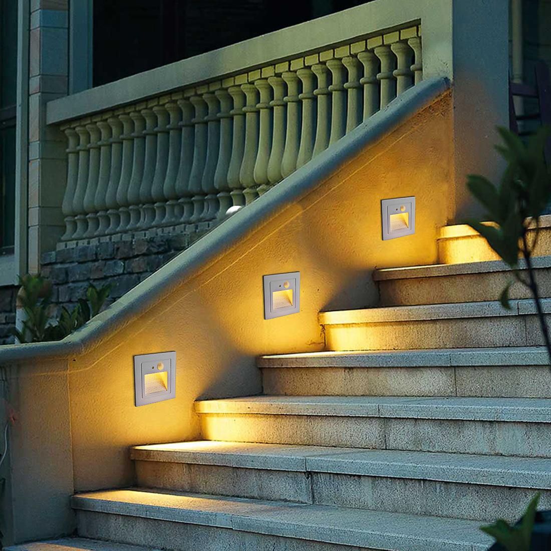 Details About Motion Sensor Led Stair Step Lights Indoor Embedded Wall Light 2 5w Ac 86 260v