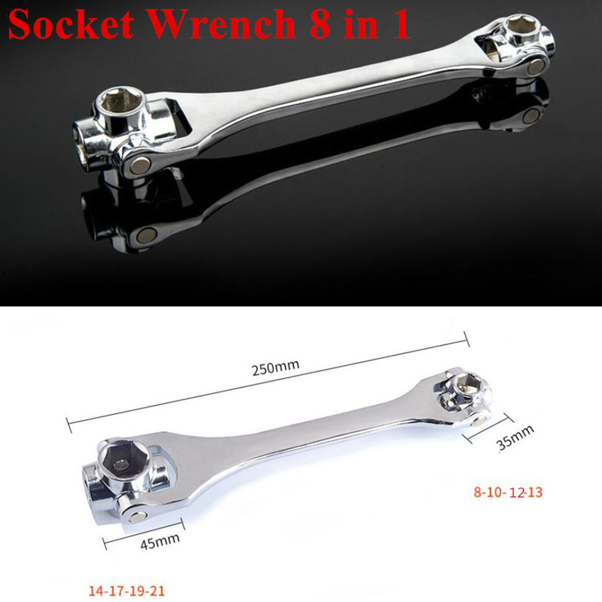 Strong 8 in 1 Double Head Spanner Socket Wrench 8//10//12//13//14//17//19//21mm
