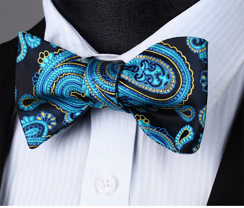 BP602VS Navy Blue Yellow Paisley Bowtie Men Silk Self Bow Tie handkerchief set