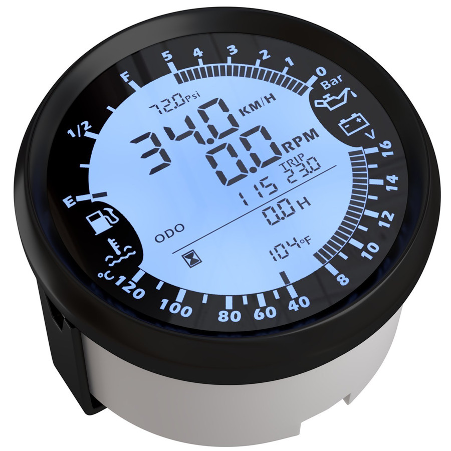 Car 85mm Digital Gps Speedometer Tachometer 6in1 Multi