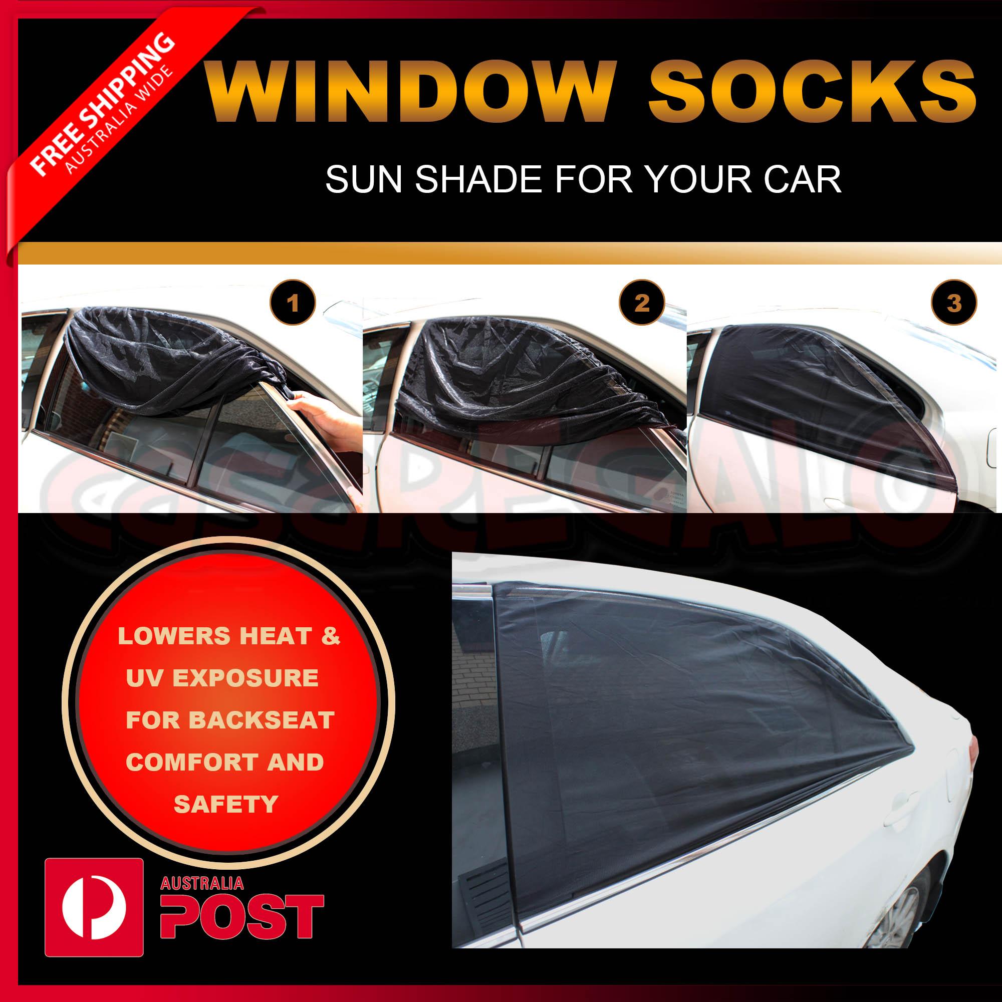2x Universal Sun Shades Socks Rear Side Seat Car Window