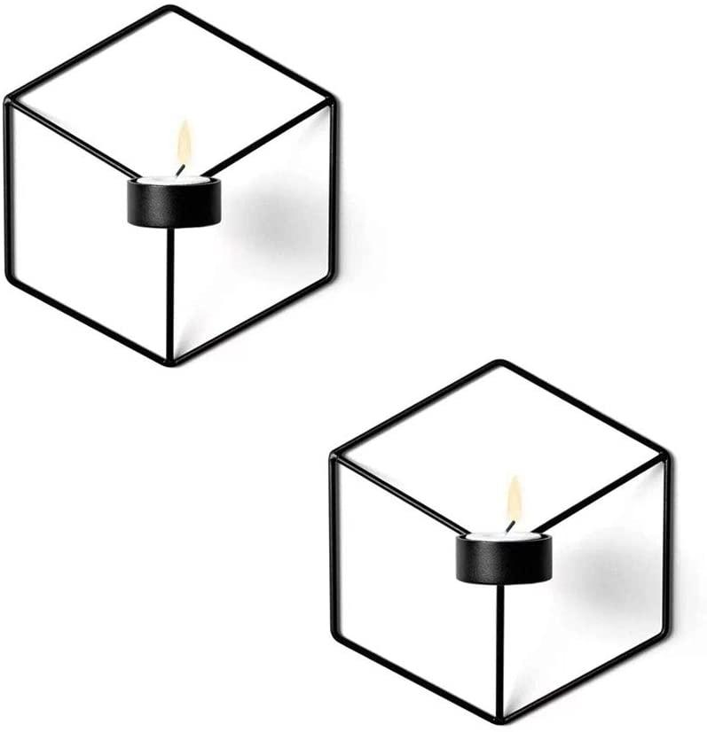 M/étal Noir 2pcs VKTY Lot de 2 bougeoirs muraux g/éom/étriques en m/étal moderne pour d/écoration de maison