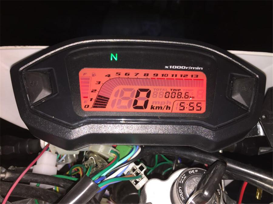 Digital Motorcycle Combo Gauge Kit Speedometer Tacho Odo N