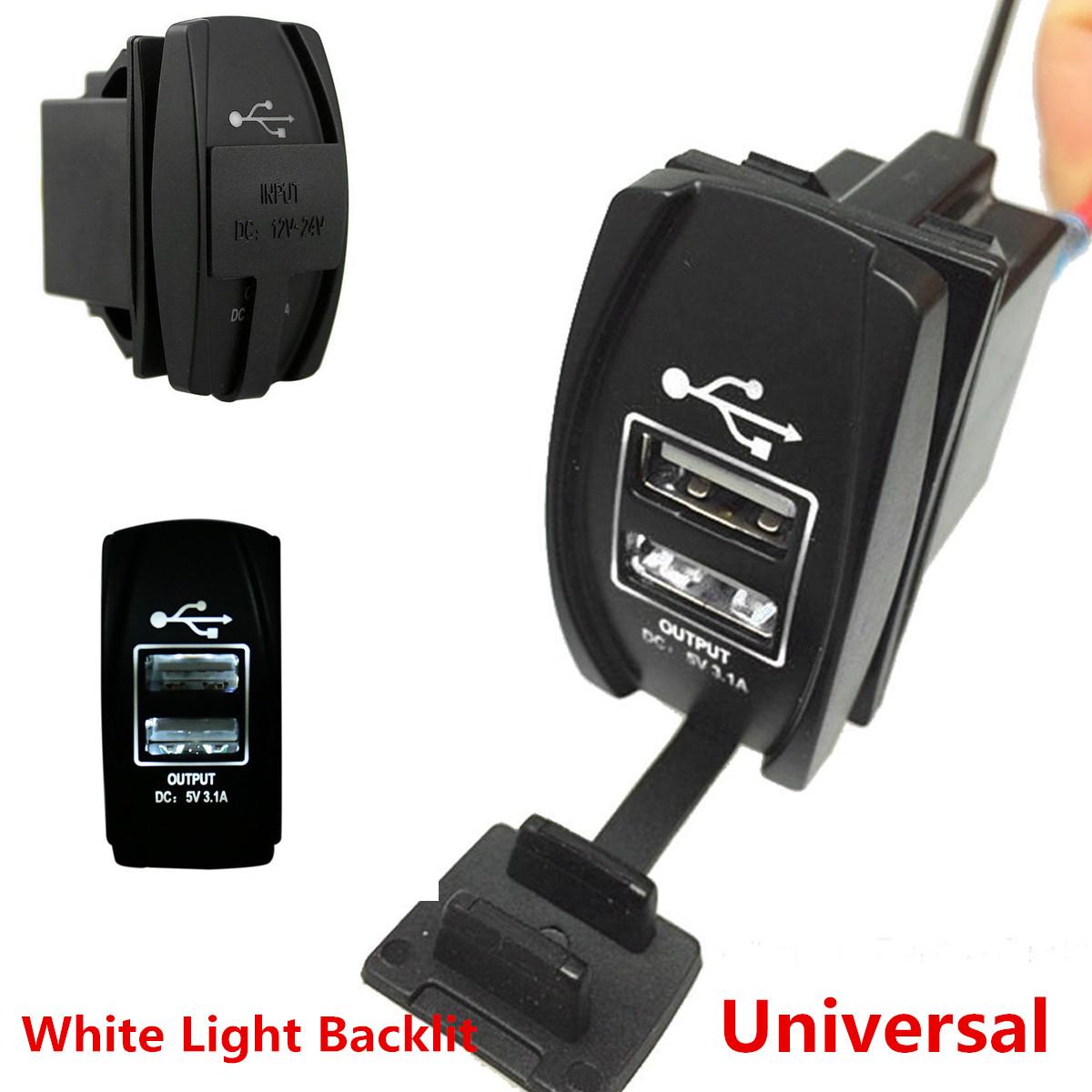 Dual USB ARB Rocker Switch Carling Backlit Green LED 12V-24V Car Boat Charger