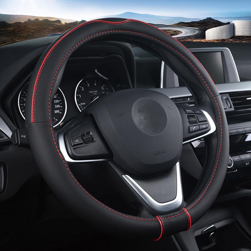 Carbon Fiber Four Season Steering Wheel Cover Universal 38Cm Massage Non-Slip//Breathable Leather,White