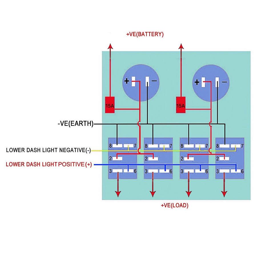 12V 4GANG Car Marine Boat Rocker Switch Panel Digital Voltmeter Dual ...