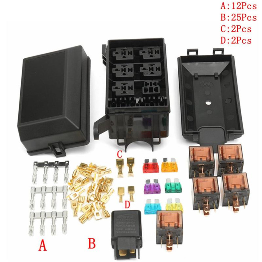6x Relays + 6x 80A/40A Fuses + 12x Terminals w/ Fuse Box Universal For Car  Truck