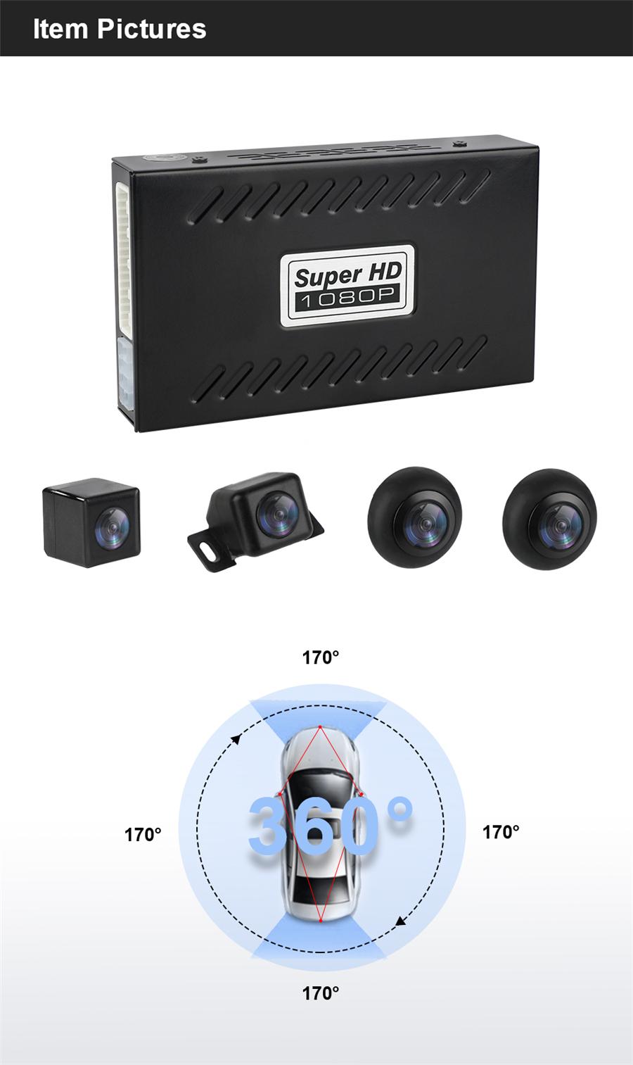 New Car 360° HD DVR Bird View Panoramic System w//Seamless 4 Camera/&Shock Sensor/&