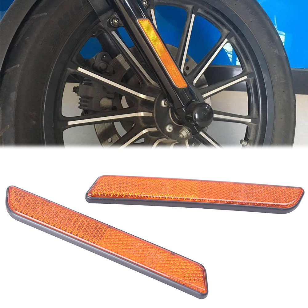2Pcs Motorcycle Front Fork Leg Reflector For Left /& Right For Harley Dyna