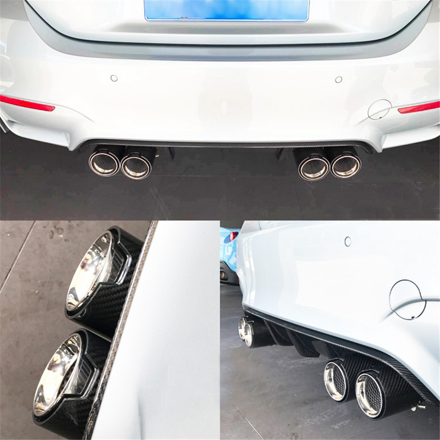 Details about 2 7'' 150mm Real Carbon Fiber M Performance Exhaust Pipe for  BMW M3 M5 X5M X6M
