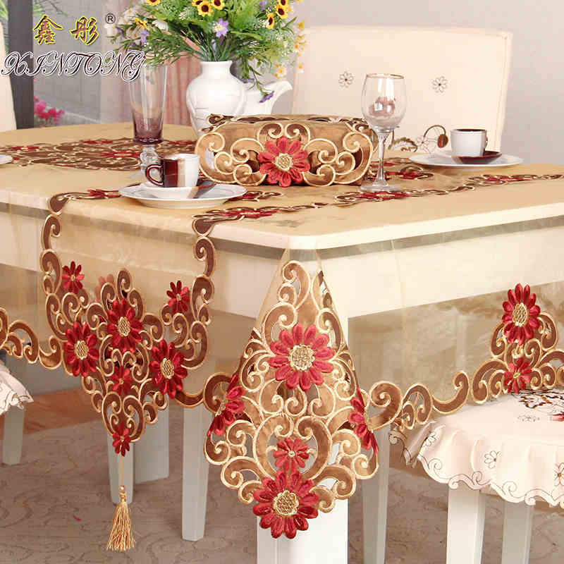 Wedding Table Linens.Details About Banquet Wedding Party Tablecloth Red Floral Dinning Table Runner Round Square
