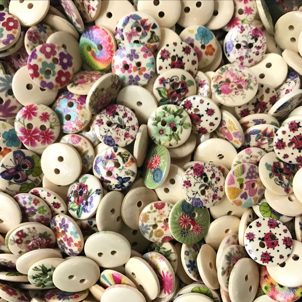 100pcs 15 20 mm 2 Holes Mixed Flower Wooden Button Sewing Scrapbooking DIY Craft