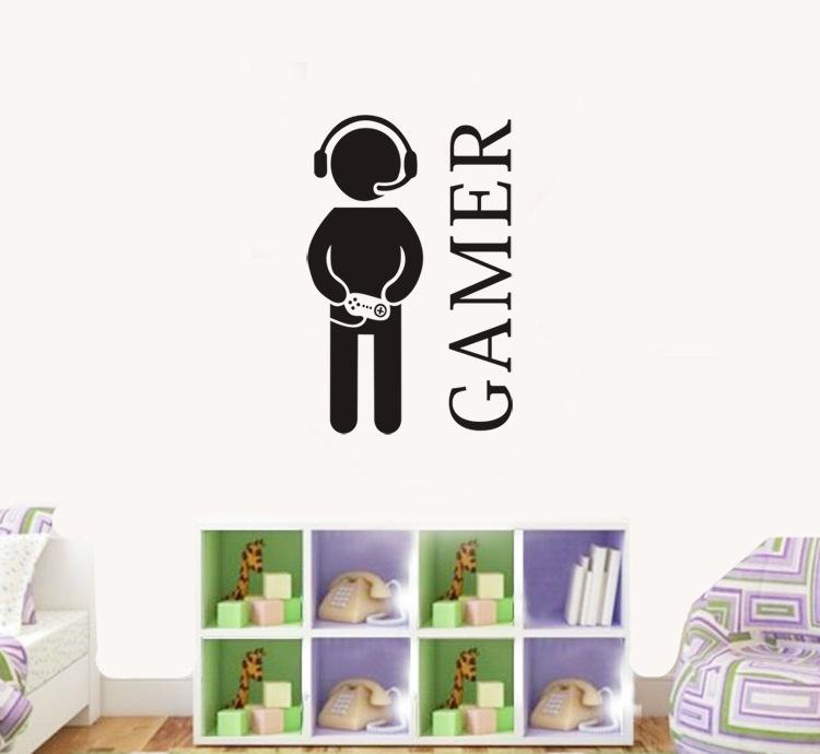 Personalised Gamer Room vinyl wall art Decal sticker Bedroom Boys ...