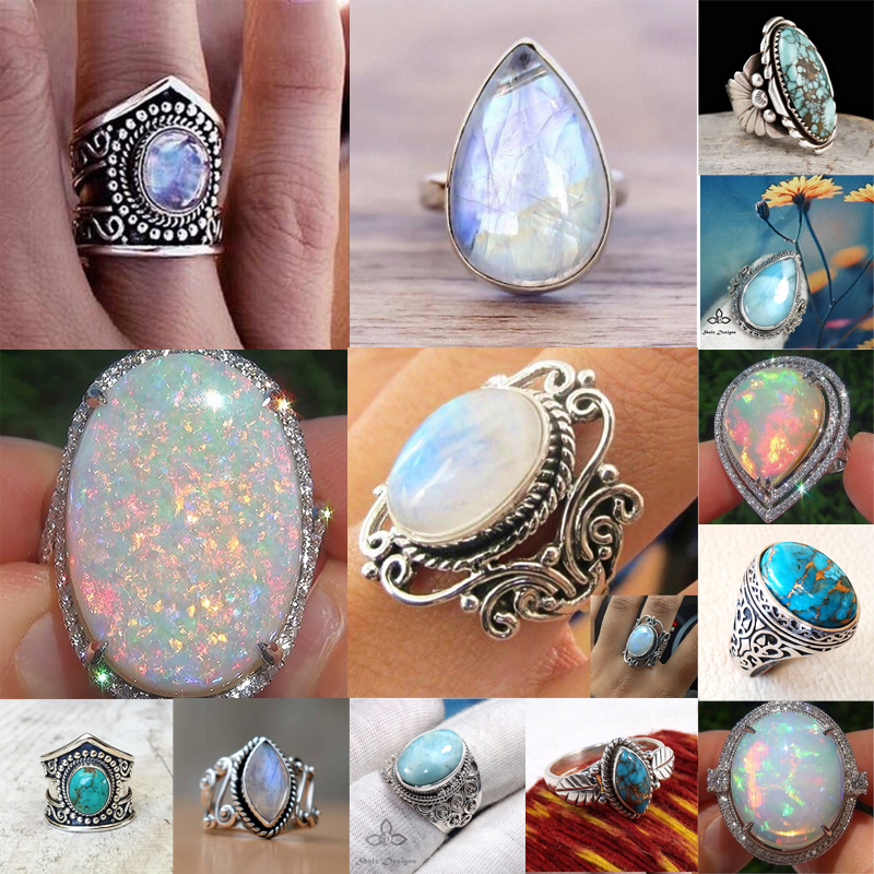 b464246f2da5 Details about 925 Silver Ring White Fire Opal Moon Stone Wedding Engagement  Size 6-10