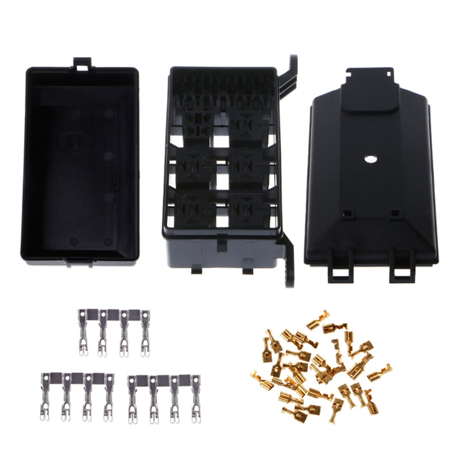 product name:fuse box material:plastic+metal color:black  size:73mmx123mmx94mm  interchange part number:automotive fuse box relay  holder 6 relay 5 road