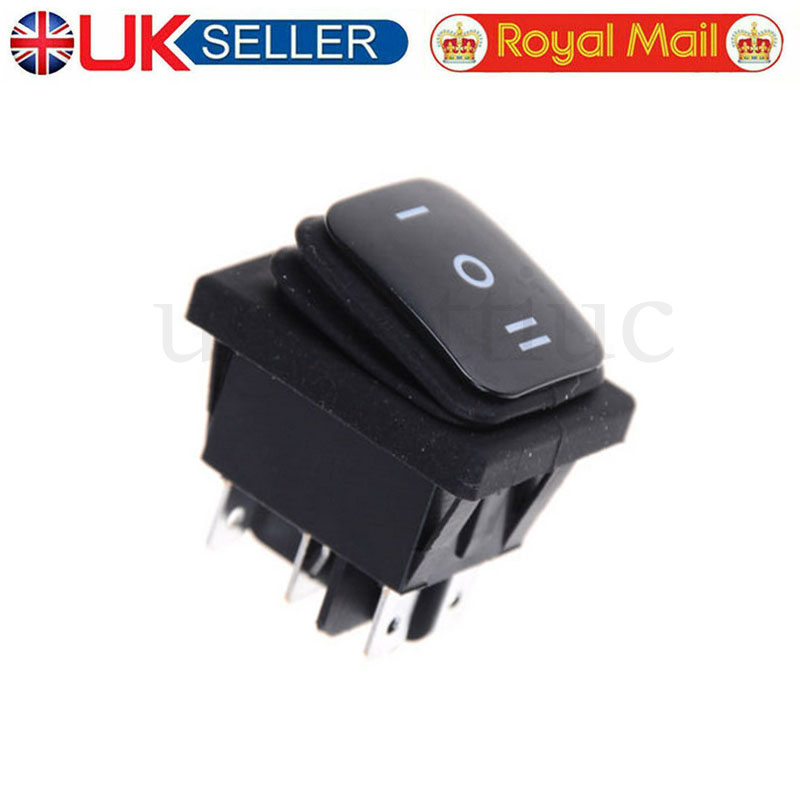 12V Waterproof 6Pin DPDT Locking ON-OFF-ON Rectangle Rocker Switch