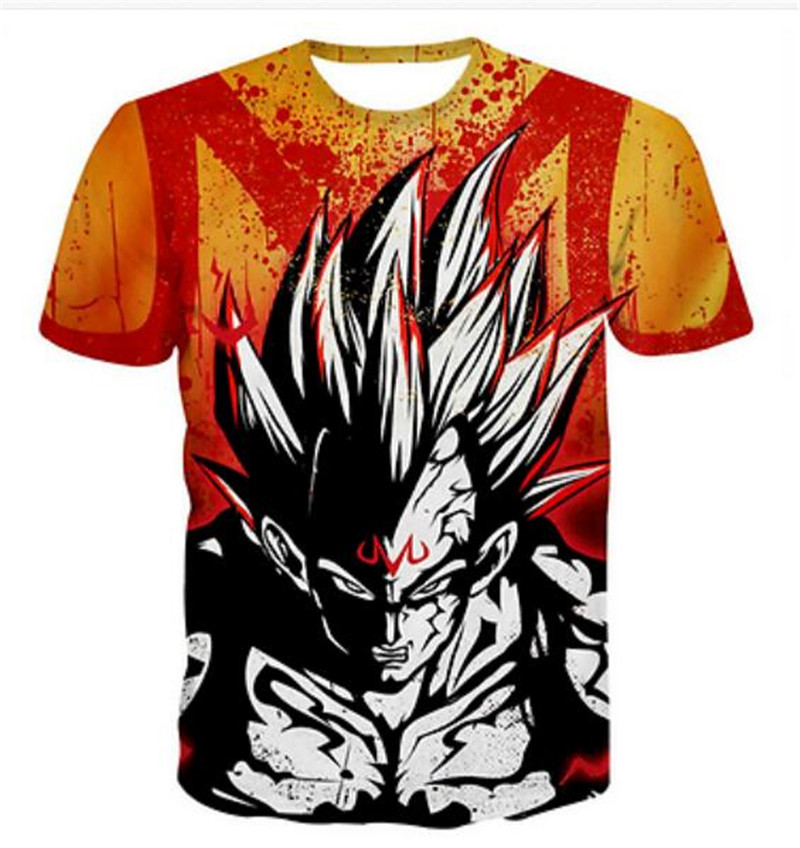 Fashion Women Men 3D T-Shirt Anime Vegeta W Casual Short Sleeve Summer Tops Tee