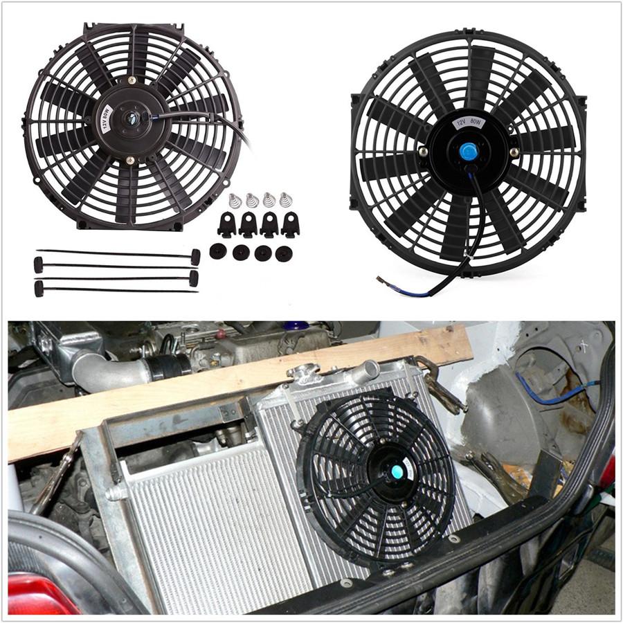 """2 X 8/"""" Universal Radiador Eléctrico//Intercooler Delgado Ventilador De Refrigeración /& Kit De Montaje"""